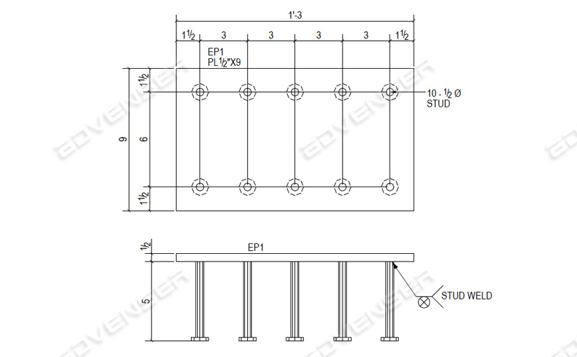 Fabrication drawing for embed plate
