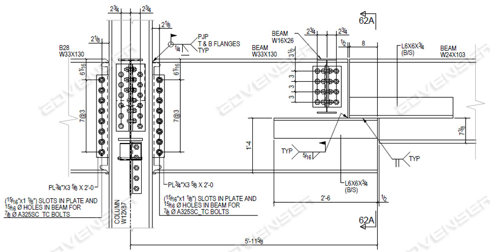 Structural steel erection drawings