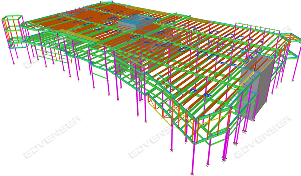 Structural steel detailing for an industrial building