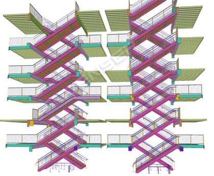 Steel stair modeling