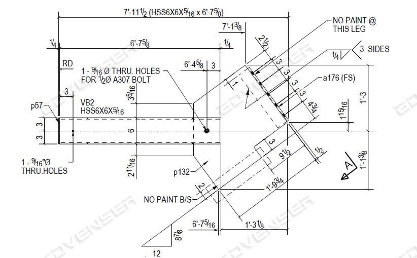 Fabrication drawing for vertical brace